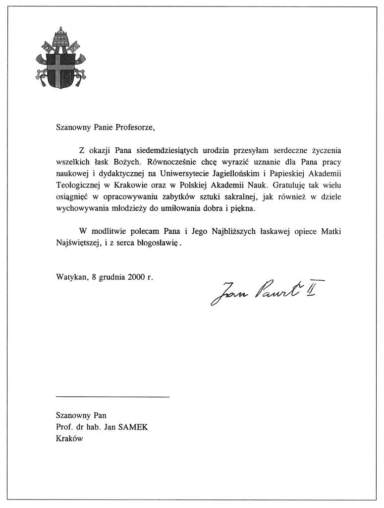 list od  Jana Pawła II